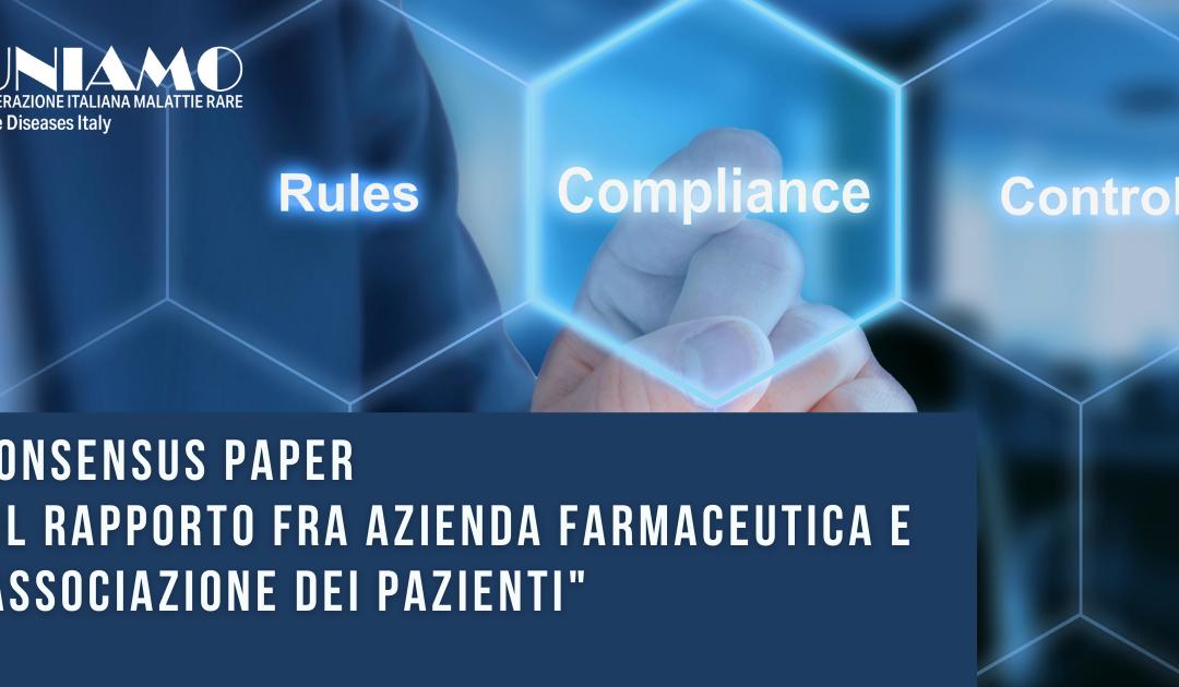 UNIAMO, consensus paper rapporti associazioni-aziende farmaceutiche